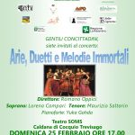 Domenica 25 febbraio alle ore 17.00 al Teatro Soms – Arie,duetti e melodie immortali