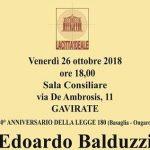 Gavirate – Venerdì 26 ottobre 2018 ore 18.00 Edoardo Balduzzi pioniere e padre della psichiatria
