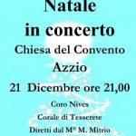 Natale in concerto 21 dicembre ore 21.00 Chiesa del Convento di Azzio