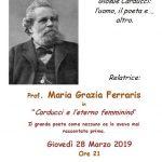 """28 marzo 2019 ore 21.00 – Brebbia – Associazione culturale Don Luigi Mari """" Carducci e l'eterno femminino"""""""