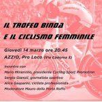 Azzio – Il trofeo Binda e il ciclismo femminile giovedì 14 marzo ore 20.45