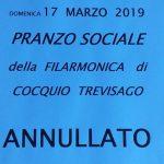 Domenica 17  marzo  2019 ore 12.30 pranzo sociale della  filarmonica   di Cocquio  Trevisago – Annullato –