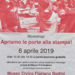 6 aprile – Giornata di workshop al Museo Civico Floriano Bodini!