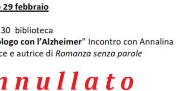 """L'evento del 29 in biblioteca """"Monologo con l'Alzheimer""""  a Laveno – Annullato"""