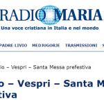 Sabato 05 settembre 2020 h. 16.20 inizio diretta con radio Maria fino alle h. 17.50 a Besozzo chiesa S. Anna.